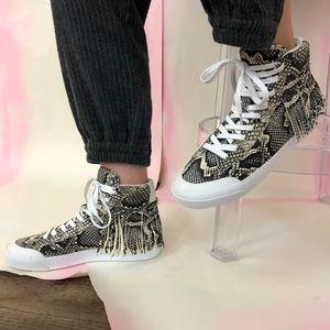 Loeffler Randall Delaney Sneaker Snake Fringe Hi T